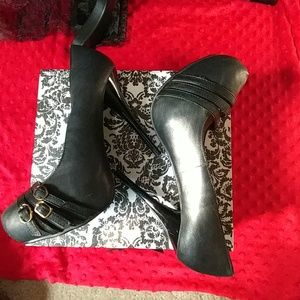 Shoes - Black stiletto heel with buckles size 10